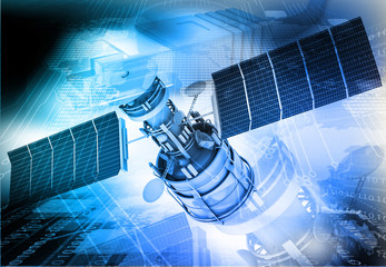 Communication satellite on technology  background