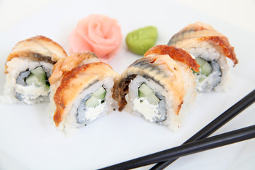 Eel sushi.  Traditional japanese sushi rolls