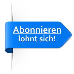 Langer blauer Sticker Pfeil – Abonnieren lohnt sich!