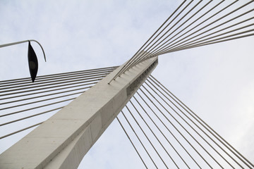 Detail of a suspension bridge