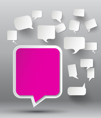 set of blank  paper speech bubbles.