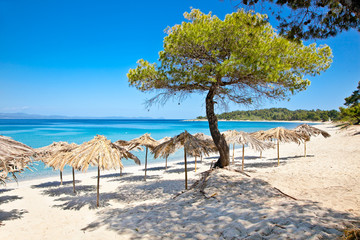 Paradiso sand beach on Akra Glarokavos, Greece.