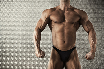Portrait of muscular bodybuilder
