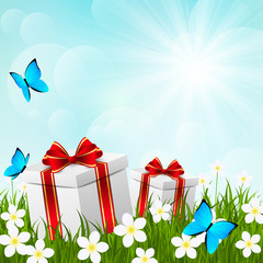 Sunny meadow with gift boxes