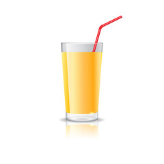 Realistic glass full of orange juice drink with cocktail straw