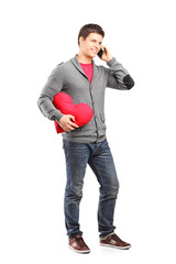 Man having a romantic conversation on the phone