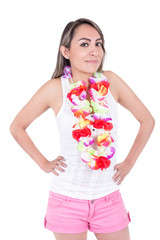 beautiful young woman wearing shorts and a flower lei