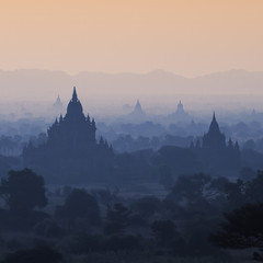 Silhouette of temples in Bagan, Myanmar