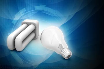 Light bulb and cfl, energy saving concept