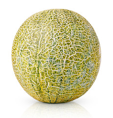 Ripe melon isolated on white background with clipping path