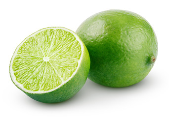 Fresh lime citrus fruit and slice isolated on white
