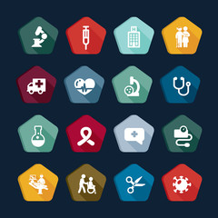 Medicine icons set - Medical buttons collection