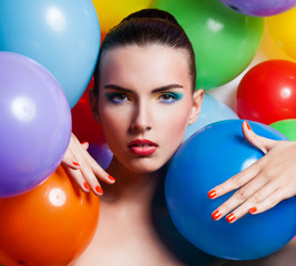 Beauty Girl Portrait with Colorful Makeup,