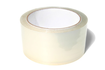 Roll of transparent adhesive tape. Isolated on white background