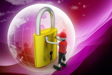 3D man holding a   padlock