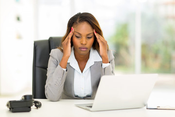 stressed african businesswoman