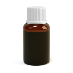 Medicine bottle of brown glass isolated on white