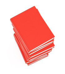 Stack of red books on white