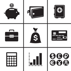 Business and financial icons set vector illustration