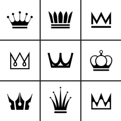 Crowns icons set vector illustration