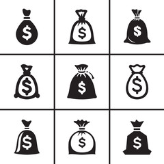 Money bags icon set vector illustration