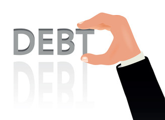 Hand and the word Debt