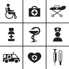 Medicine health care icons set vector illustration