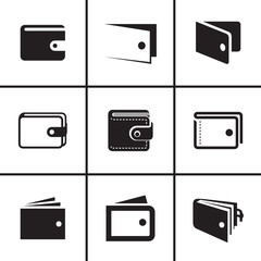 Wallet icons set vector illustration