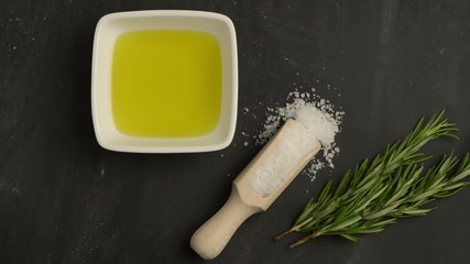 Cooking ingredients for mediterranean cuisine - olive oil, bunch