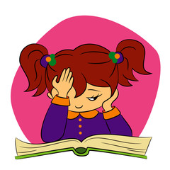 children in school - illustration of a girl trying to read