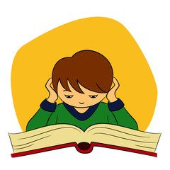 children in school - vector illustration of a boy who is reading