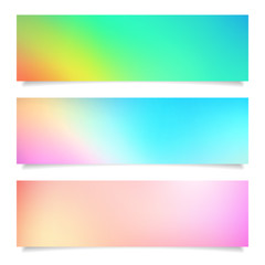 set of summer blurred background vector banner