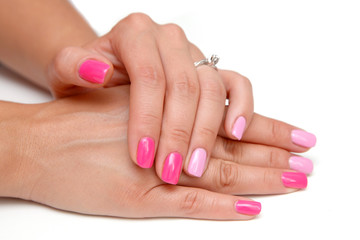 Pink nails manicure