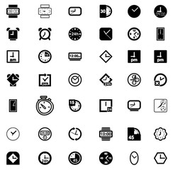 Set of  Clock Icon Symbol Vector
