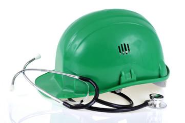 Casque de chantier et stéthoscope