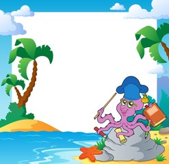 Beach frame with octopus teacher
