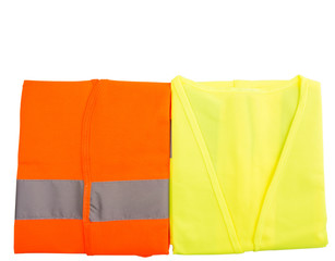 Orange and yellow reflective vest over white background
