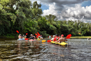 river, Sula, 2014 Ukraine, june14 ; river rafting kayaking edito