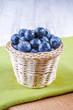Blueberries in rustic basket