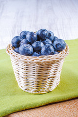Blueberries in rustic basket