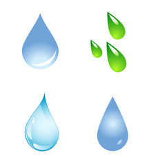 Water Drop Shapes Collection Vector Icon Set