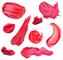 Smears lipstick and lip gloss variety of shapes