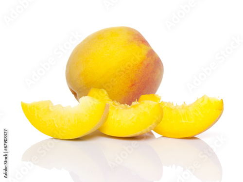 Sliced peach isolated on white background