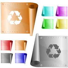 Recycle symbol. Vector metal surface.