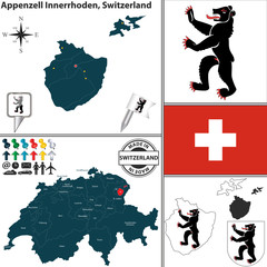 Map of Appenzell Innerrhoden, Switzerland