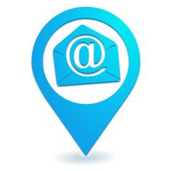e mail sur symbole localisation bleu