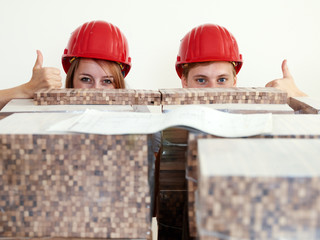 Worker showing thumbs up in site