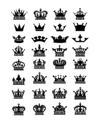 Collection of 32 crown icon logo symbol vector download