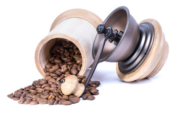 Coffee beans and old coffee mill (isolate)