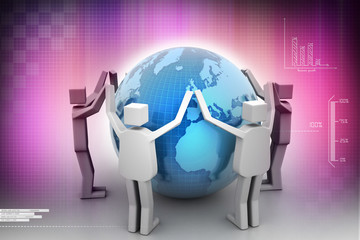 Businessman around the world, Teamwork concept